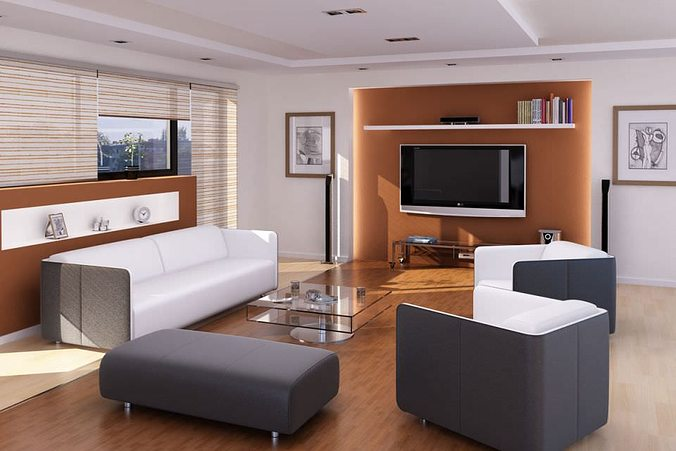 3D model living Modern Living Room | CGTrader