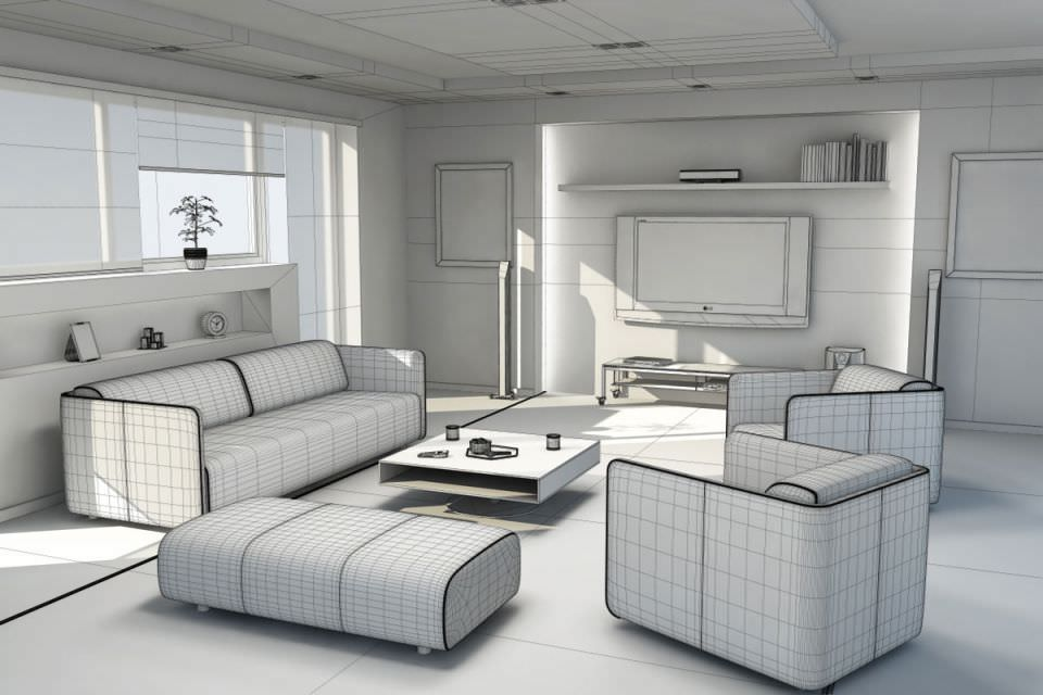 Living Room 3d Model 3d model living modern living room | cgtrader