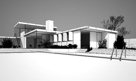 modern house with swimming pool 3d model c4d 1