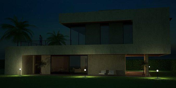 modern house with a yard 3d model c4d 1