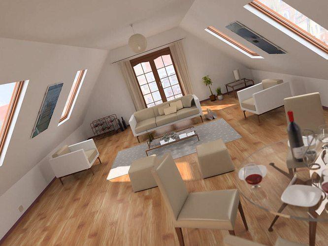 Attic Living Room 3d model attic living room scene | cgtrader