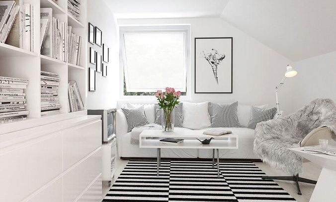 Cozy White Living Room Scene 3d Model Cgtrader