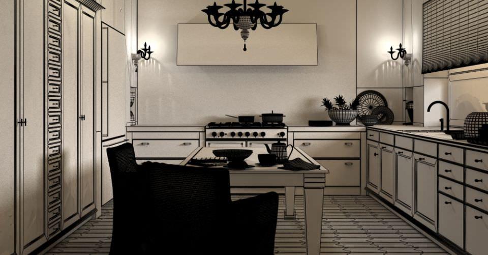 Elegant kitchen room scene 3d model for Kitchen room model