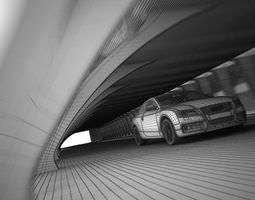 white audi a5 in the tunnel 3d