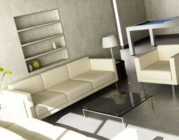 3d bright living room with leather sofa and armchairs