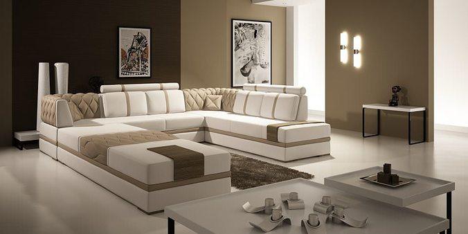 Modern Living Room With Big Fancy Sofa, Fancy Living Room