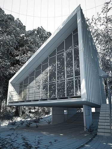 3d Exterior House Designs: Modern House In A Forest 3D