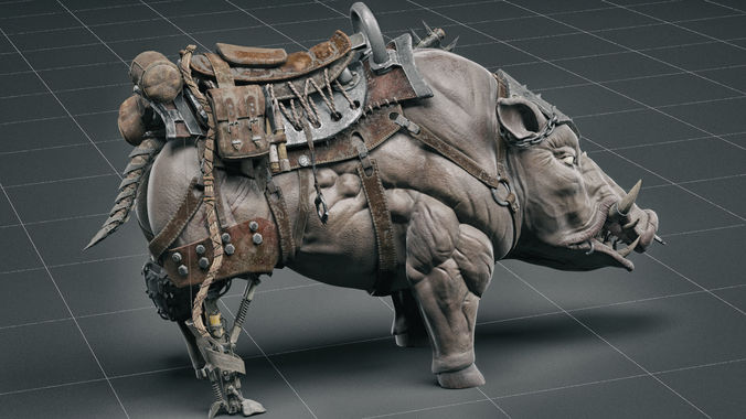 cybernetic boar 3d model max obj mtl fbx ztl tga 1