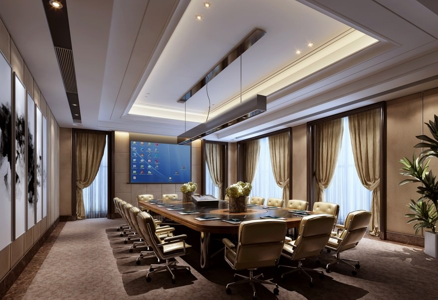 Elegant meeting room with comfy armchairs 3d model max for Meeting table design 3d