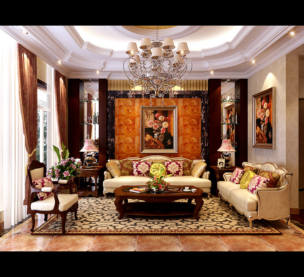 Royal Living Room With Pillows 3D model   CGTrader