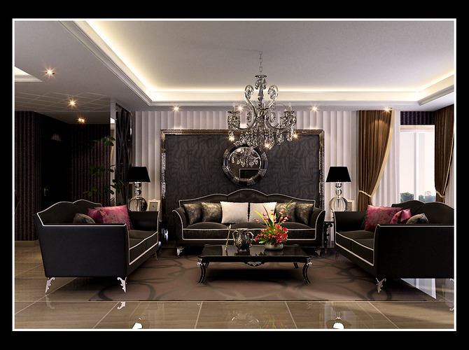 awesome black living room 3d model | Elegant Living Room With Black Sofas 3D model | CGTrader