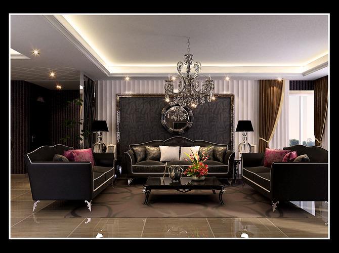 Elegant Living Room With Black Sofas 3d Model Max