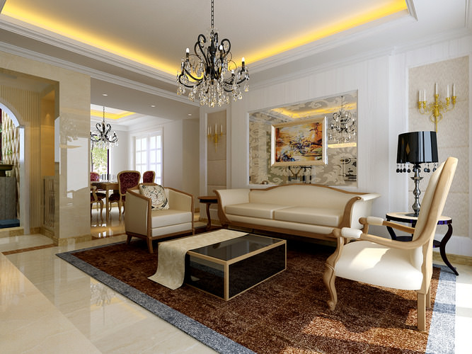 Luxurious living room with fancy meeting room 3d model max for Living with models