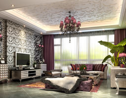 Wallpapers 3d models download 3d wallpapers files for Fancy wallpaper for living room