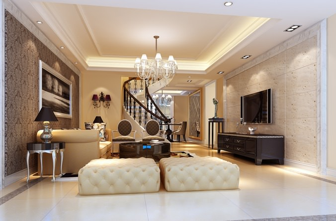 Modern Living Room With Fancy Furniture And Stairs Model