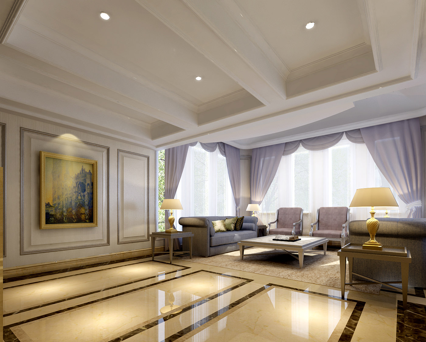 ... Posh Living Room With Balcony 3d Model Max 10