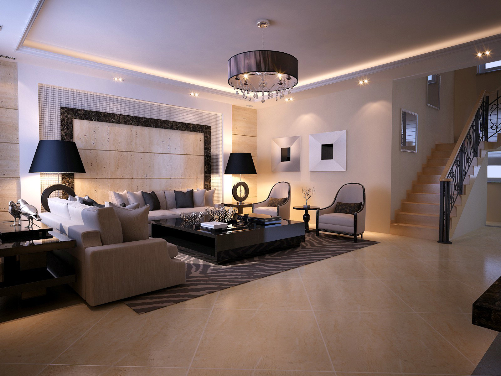 Modern Living Room With Fancy Lithing Model Max 1
