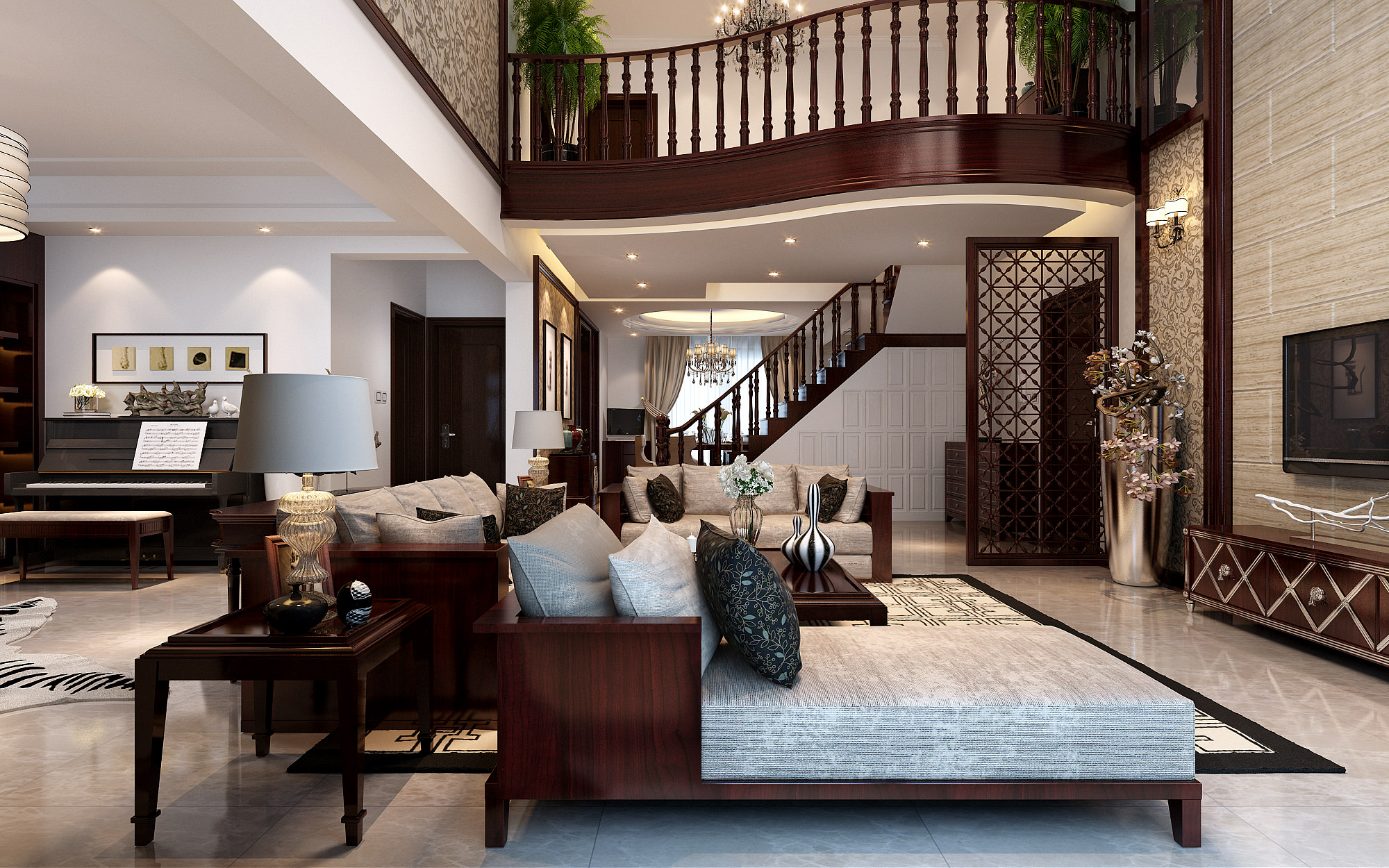 Modern Classy Living Room With Pianos And Stairs 3d Model Max 1