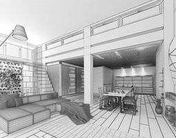 3D model Dining Room In Loft