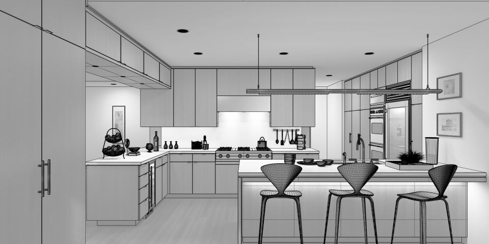 Kitchen 3D Model 3D Modern Kitchen With Dining Table  Cgtrader