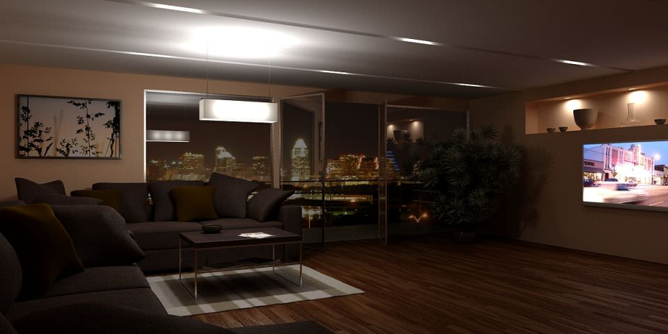 Dark living room with city view 3d model max for Living room 3d view