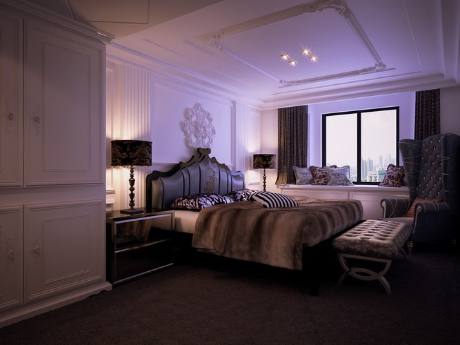 luxurious bedroom with armchair 3d model max 1