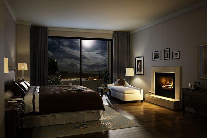 3d Model Elegant Cozy Dark Bed Room Cgtrader