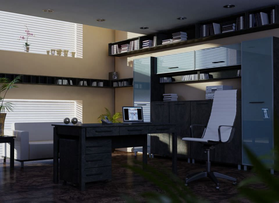 Modern Office Room With Furniture 3d Model Max