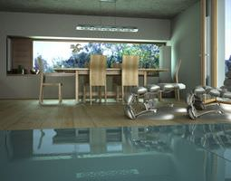 Swimming Pool Room With Armchairs 3D