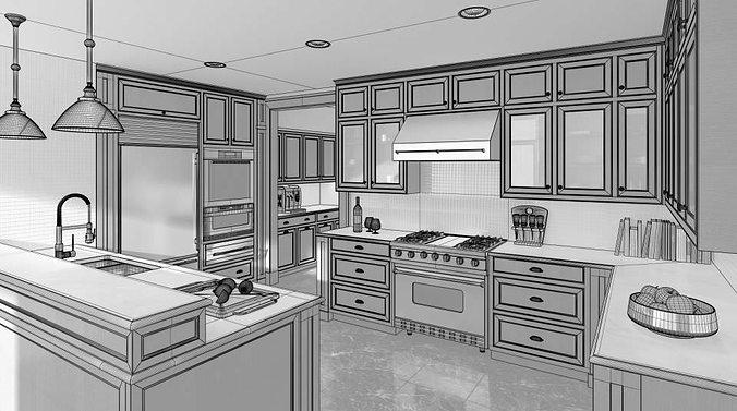 modern brown wood kitchen 3d model