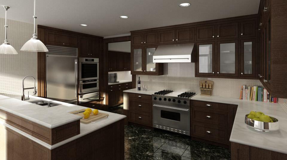 ... Modern Brown Wood Kitchen 3d Model Max 2