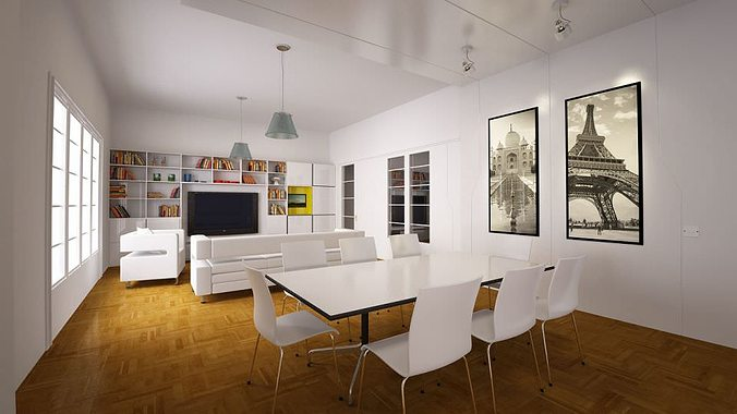 White Living Room With Dining Table Model Max 1