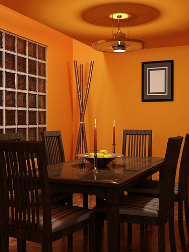 High Quality Orange Dining Room 3D Model