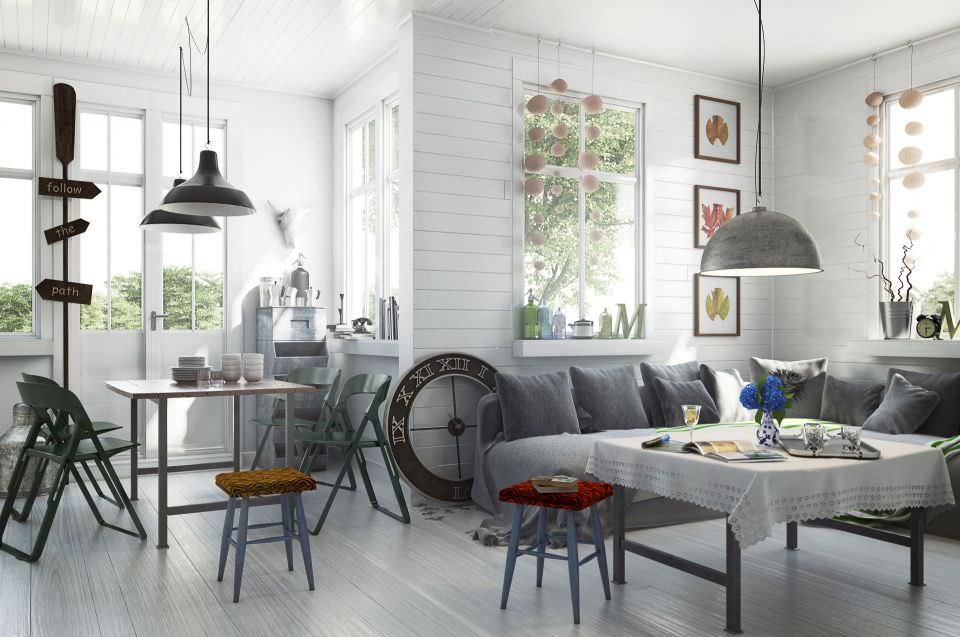 Scandinavian Style Living Room With Dining Table 48D Model MAX Impressive Dining Room Interior Designs Model
