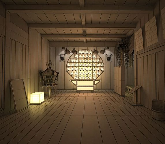 3d Chinese Style Empty Room Cgtrader