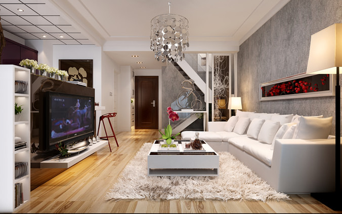 Spacious Living Room: Spacious Living Room With Tv White Leather Furniture Red