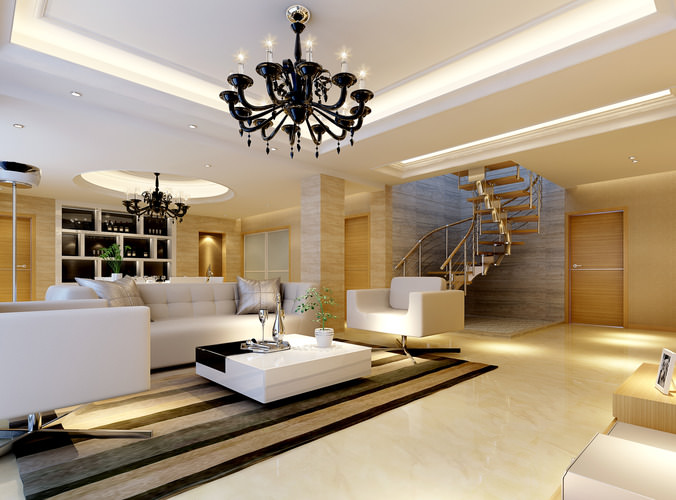 Modern bright spacious living room fully furnished 3d for Model interior design living room