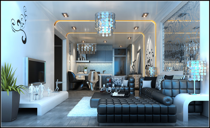 Modern living room fully furnished and decorated in dark for 3d max interior living room