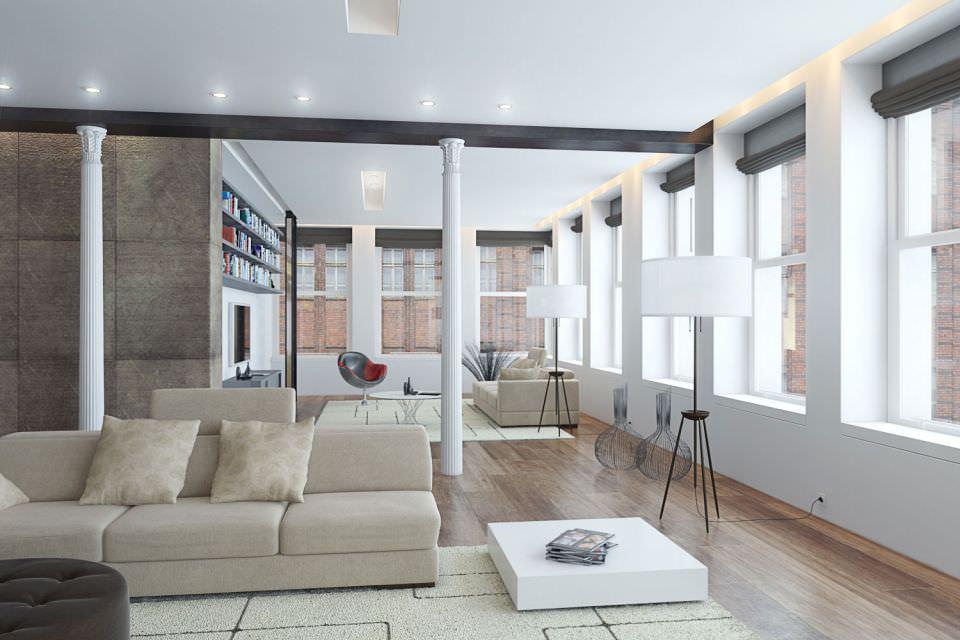 White modern studio apartment 3d model for Apartment model