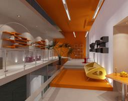 Orange Office Interior With Waiting Area 3D Model