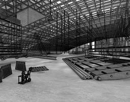 large industrial space with metal constructions 3d model