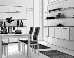 kitchen dining room 3d