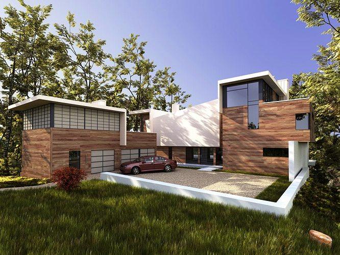 wooden modern villa 3d model max 1