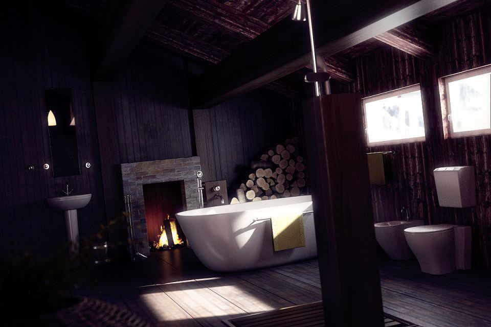D Lodge Style Bathroom CGTrader - Lodge style bathroom