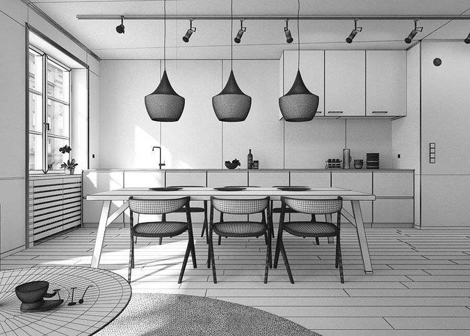 ... Living Room With Kitchen Interior Design 3d Model Obj 5 ...