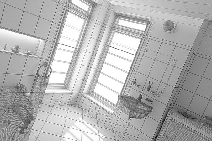 3d model bathroom interior design cgtrader for Bathroom design 3d model