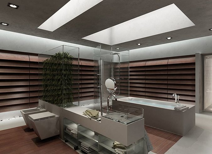 Bathroom Design 3d Model : Bathroom modern interior design d model max