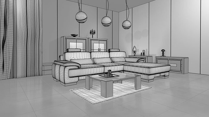 3d living room with modern interior design cgtrader for Design your living room online 3d