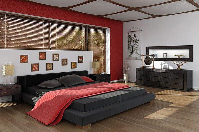 3d design bedroom. Asian Interior Design Bedroom 3D Model 3d