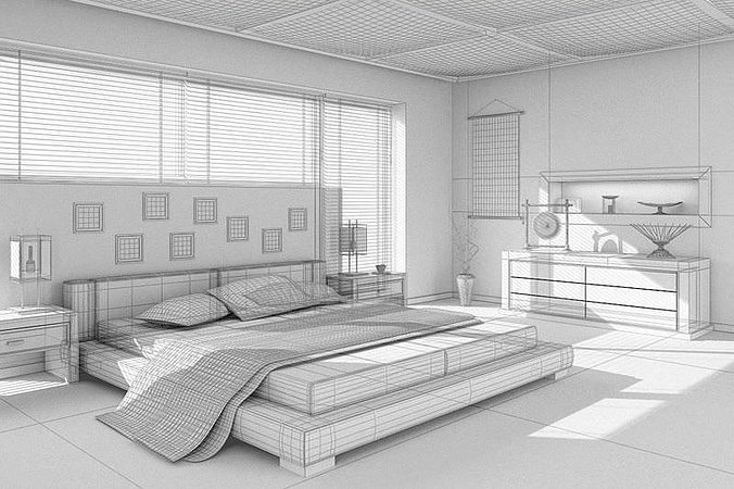 Beau ... Asian Interior Design Bedroom 3d Model Max 2